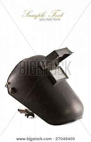 Black plastic protective welding mask helmet