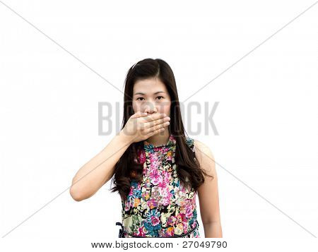 Young girl hold  hand crossed on mouth to stop her to speak isolated on white background
