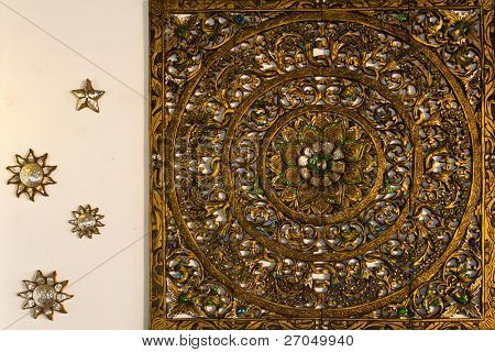 Carved pattern on wood, element of decor