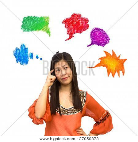 Beautiful girl with bright thought bubbles on white background.