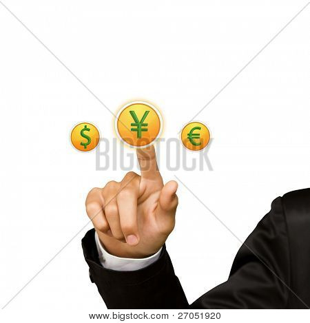 Business man hand press yen sing button
