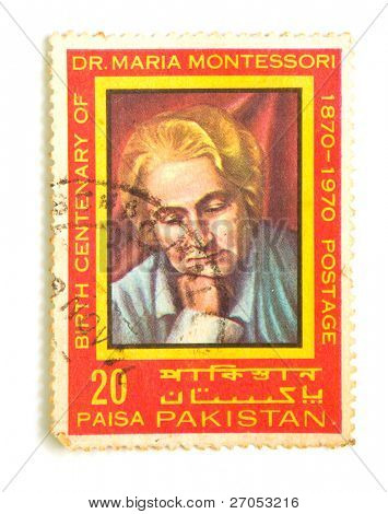 PAKISTAN - CIRCA 1970: stamp printed by Pakistan, shows Maria Montessori (1870-1970) ,CIRCA 1970