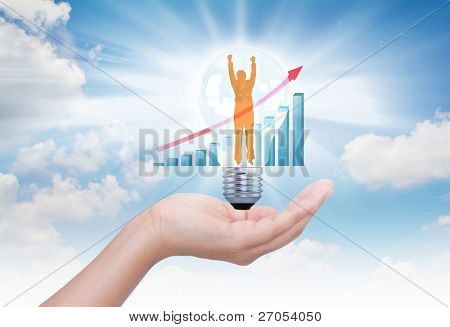 Hand hold light bulb with financial charts , businessman jumping  inside bulb