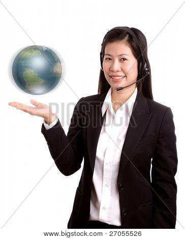 Portrait of business women call center holding moving globe in her hand on white