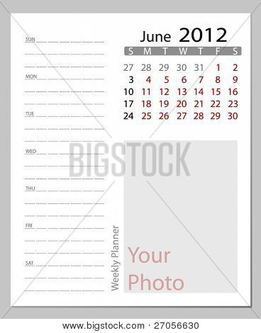 Simple 2012 calendar, June.  All elements are layered separately in vector file. Easy editable.