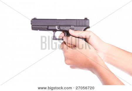 Gun control concept - Man with handgun, isolated on white