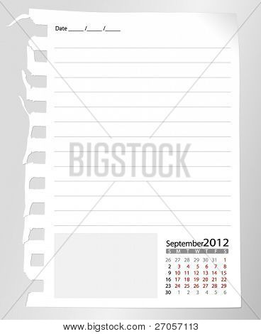 Simple 2012 calendar notebook, September. All elements are layered separately in vector file. Easy editable.
