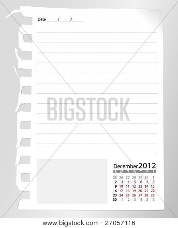 Simple 2012 calendar notebook, December. All elements are layered separately in vector file. Easy editable.