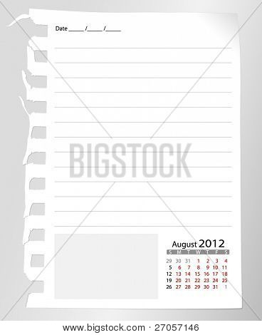 Simple 2012 calendar notebook, August. All elements are layered separately in vector file. Easy editable.