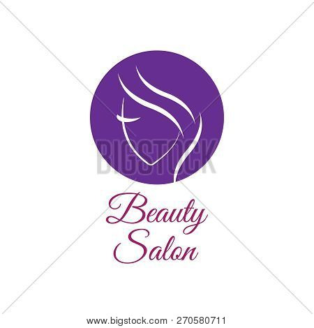 poster of Beautiful Woman Vector Logo Template For Hair Salon, Beauty Salon, Cosmetic Procedures, Spa Center.