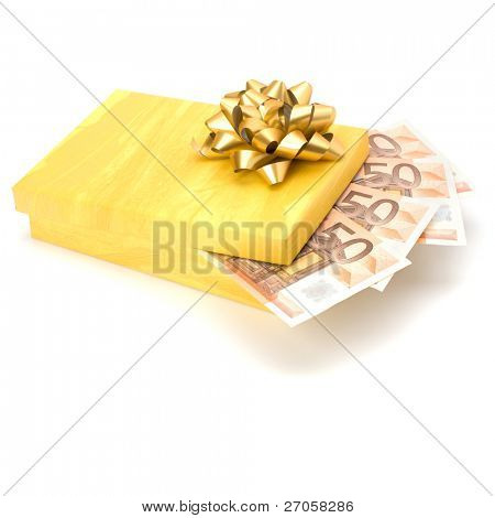 Dotation concept. Money inside gift box isolated on white background.