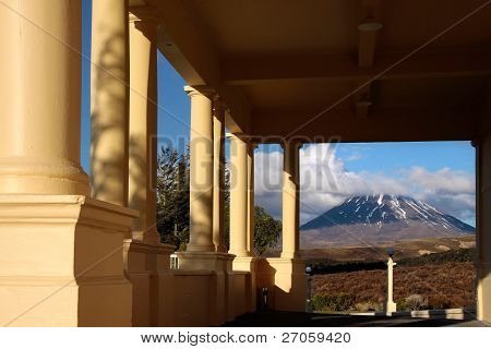 View From Chateau Tongariro To Mount Ngauruhoe