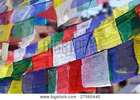 tibetan prayer flags, swayambhunath temple, Nepal