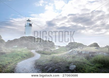 Cape Foulwind Lighthouse In The Fog