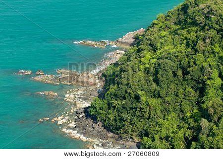 aerial view of tropical island rocky coastline, angthong marine park, thailand