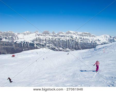 Pendiente en el centro de esquí Flumserberg. Suiza