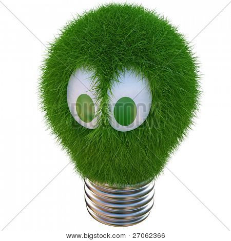bulb growing out of it with grass. 3d character with funny eyes. isolated on white.
