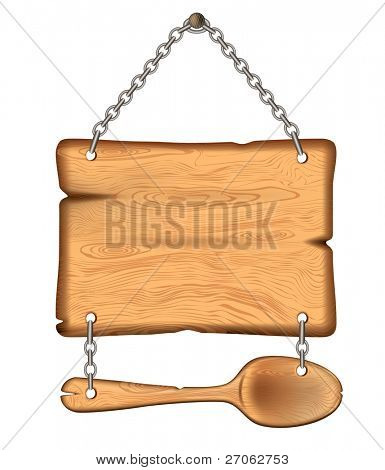 The old wooden sign with a spoon. weighs on the chains eps10