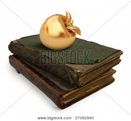 Two old books on white background with a golden apple