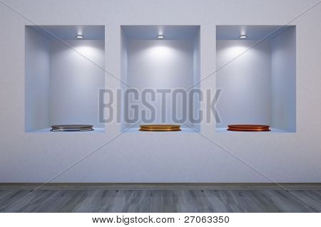 Shelves in the wall with empty pedestals