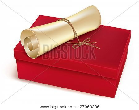 Caja roja con un desplazamiento de la vieja