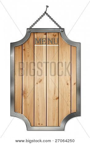 wooden menu board . isolated on white.