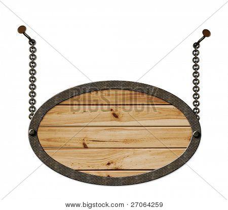 wooden Sign hängen die Ketten, die isoliert auf weißem Hintergrund