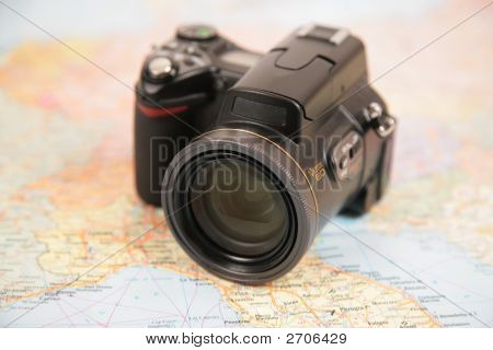 Camera On Map Of Europe