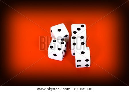 five dices on red background