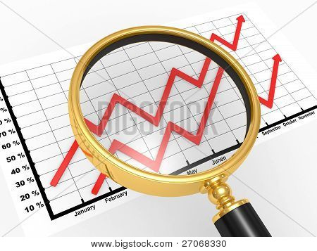 3D The Graph C Magnifying Glass On A White Background