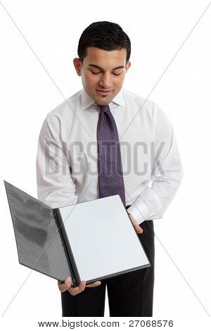 Businessman Or Waiter Holding A Brochure Or Menu
