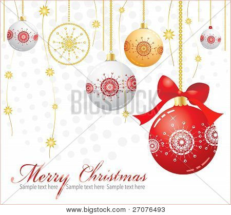 Vector New Year's card with ornaments and Christmas spheres