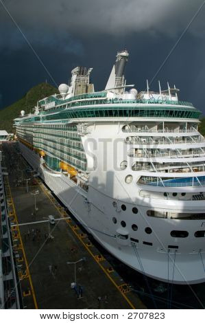 Modern Cruise Ship At Caribbean Port With Storm