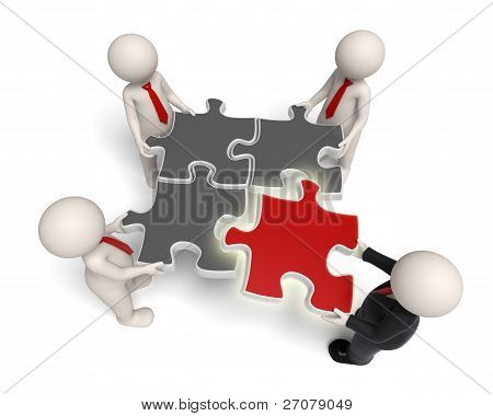 3D Business People Assembling Puzzle