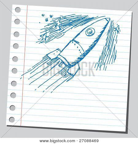 Scribble spaceship drawing