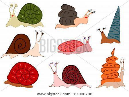 Funny cute snails set