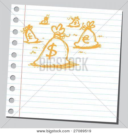 Scribble money bags