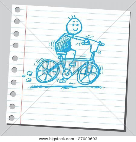 Scribble boy riding bicycle