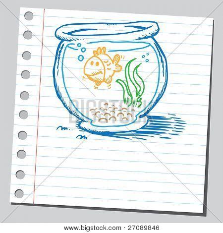 Scribble golden fish