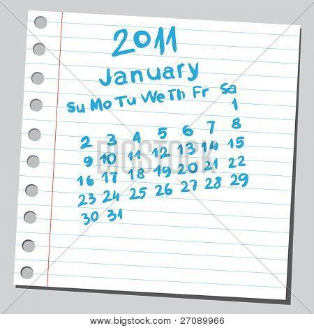 "Scribble calendar. ""January 2011"""