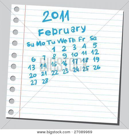 "Scribble calendar. ""February 2011"""