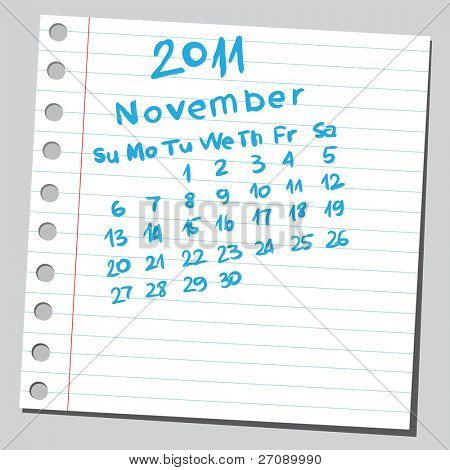 "Scribble calendar.""November 2011"""