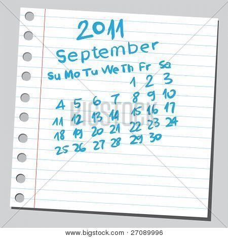 """Scribble calendar. """"September 2011"""""""