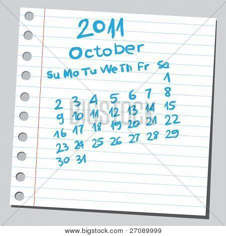 """Scribble calendar.""""October 2011"""""""