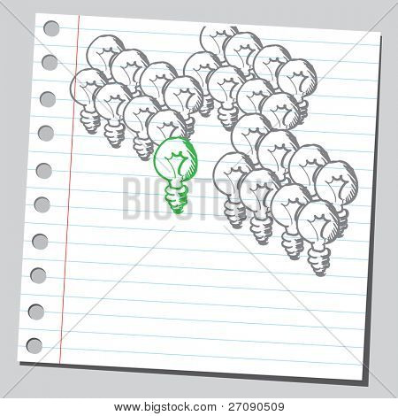 Hand drawn green lightbulb concept