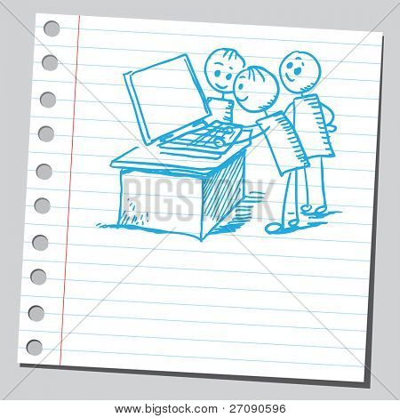 Hand drawn kids playing game on a computer