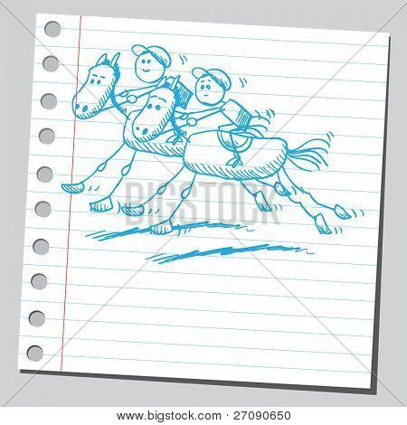Hand drawn horse racing