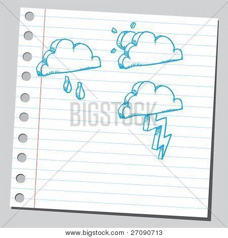 Hand drawn meteorology symbols set two