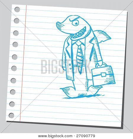 Hand drawn shark businessman