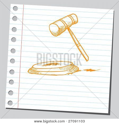 Sketch of a judge's gavel